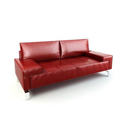 red modern sofa 3d model obj 1