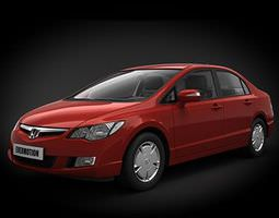 honda civic car   cherry red 3d model