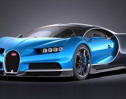 bugatti chiron 2017 3d model max obj 3ds fbx c4d lwo lw lws