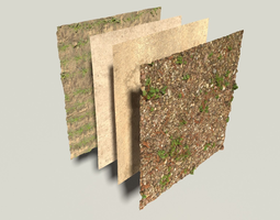 scanned surface collection with 4 piecs plus dark rock 3d model