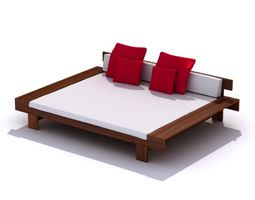 Wooden Patio Bed 3D