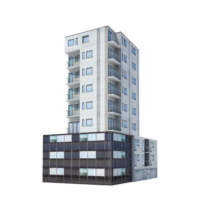 9 story residential building 3d model for Construction 3d
