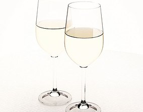 Glass Wine Drinking Glasses 3D