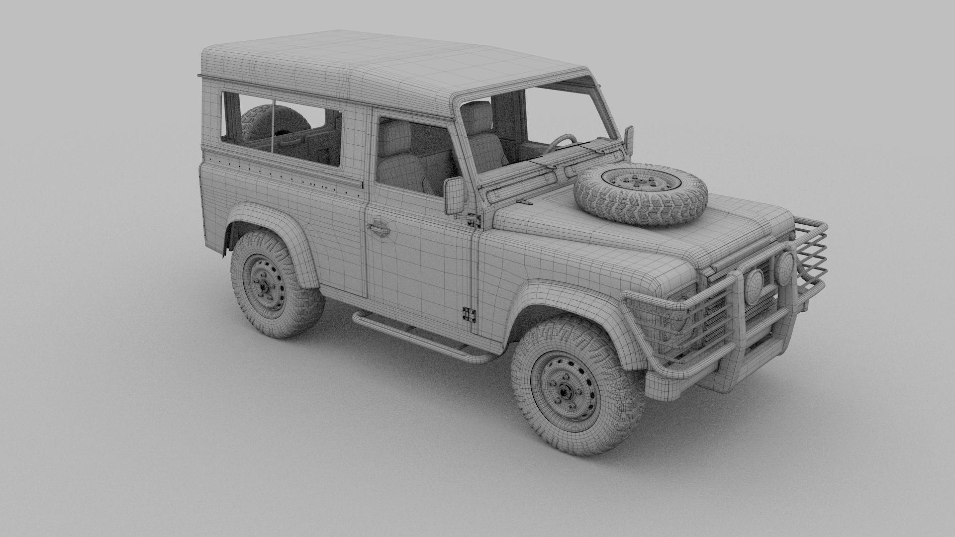 land rover defender 90 station wagon w interior hdri 3d. Black Bedroom Furniture Sets. Home Design Ideas