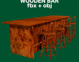3D Bar and Stool fbx and obj