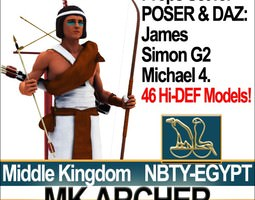 3d model ancient egypt mk archer props poser daz