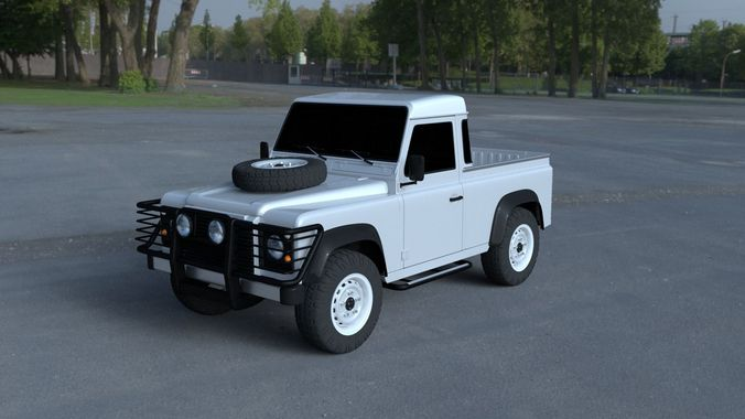 3d land rover defender 90 pick up hdri cgtrader. Black Bedroom Furniture Sets. Home Design Ideas
