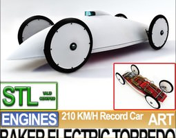 Record Car Baker Electric Torpedo 1902 STL Printable 3D Model