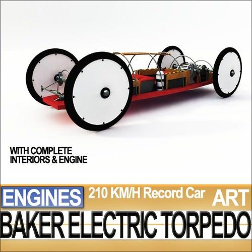 record car baker electric torpedo 1902 stl 3d model 3d printable obj 3ds c4d stl vue. Black Bedroom Furniture Sets. Home Design Ideas