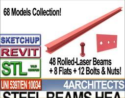 Steel Wide Flange Beams HEA Collection Revit STL Printable 3D Model