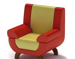 3D Red And Yellow Colored Leather Chair