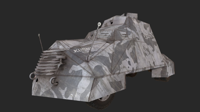 kubus armoured vehicle warsaw 1944 3d model low-poly obj mtl 1