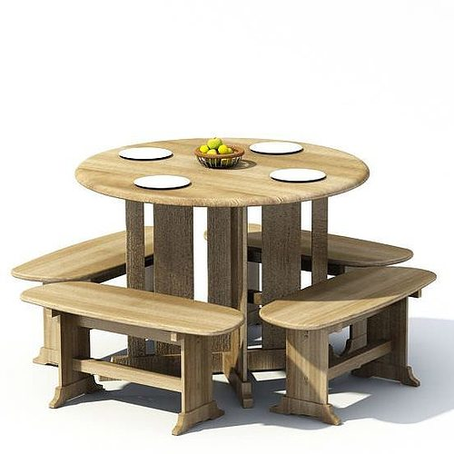 Wooden dining table benches 3d model for Dining table latest model