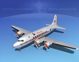 3d model douglas dc-4 american airlines rigged