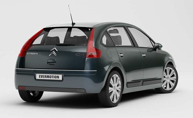 gray car citroen c4 3d model. Black Bedroom Furniture Sets. Home Design Ideas