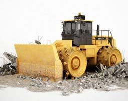 3D model Yellow Dozing Bulldozer