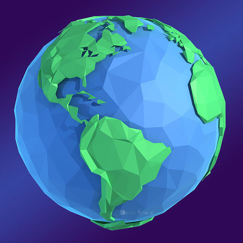 Planet Earth Low Poly Art Style