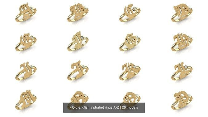 - Old english alphabet rings A-Z