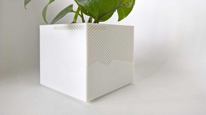 003f - planter - medium cuboid with pattern -  3d model stl 1