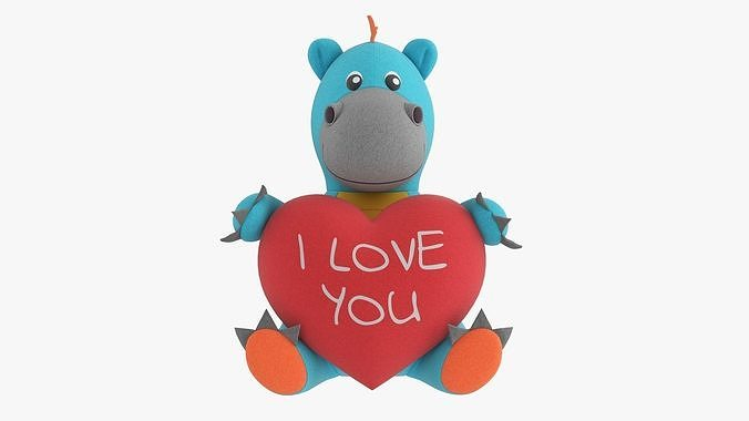 Dragon soft toy with heart