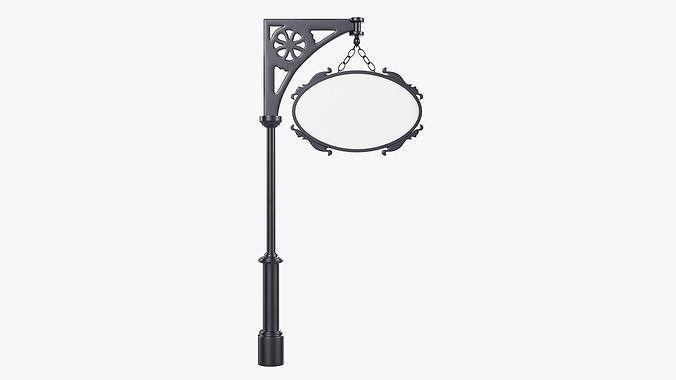 Forged column with hanging sign 04