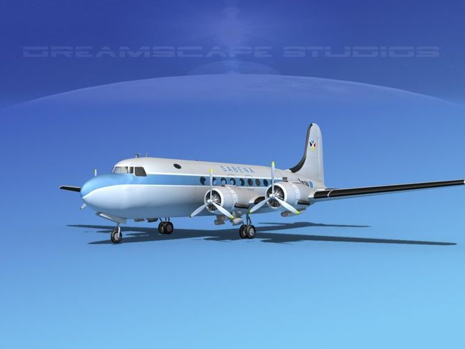 douglas dc-4 sabena airlines 1 3d model max 3ds lwo lw lws dxf dae dwg 1