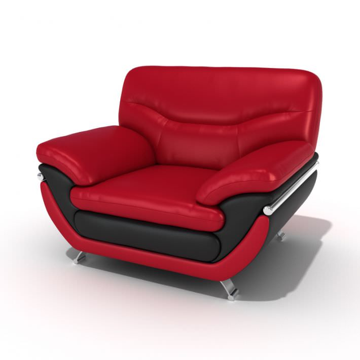 Red Leather Lounge Chair 3d Model