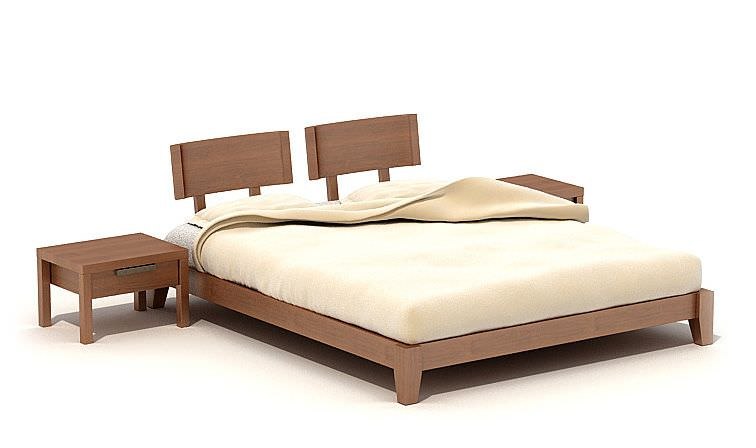 Double cot bed with a stool 3d model for Double cot designs