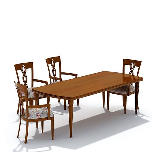 Dining room set model chairs and table 3d cgtrader for Dining table models