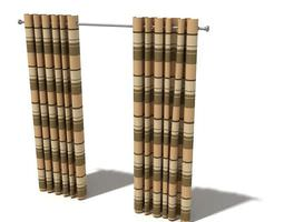 Brown Striped Curtains 3D Model