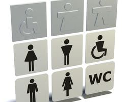 gray bathroom sign 3d