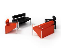 Red And Black Armchairs Set 3D