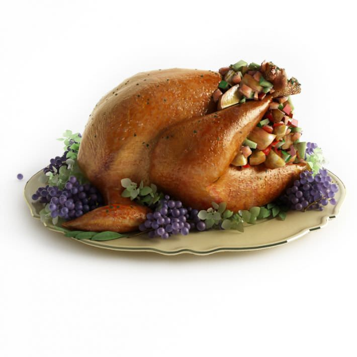 Roast turkey with garnishings 3d model for Food bar 3d model