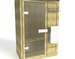 Wooden Glassed Sauna 3D