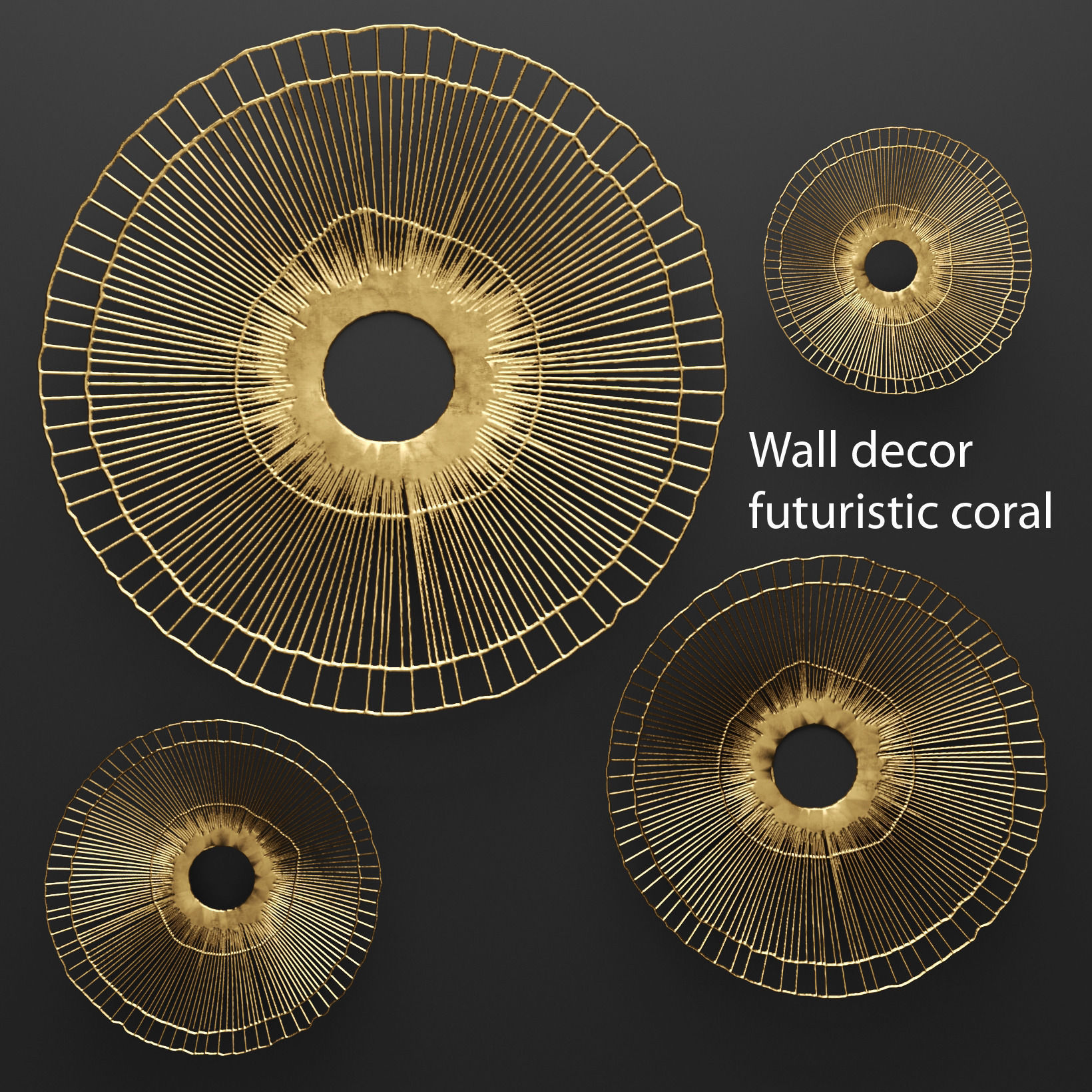 Superb Wall Decor Futuristic Coral Panel 3d 3 3d Model Max Obj Fbx Mtl  Unitypackage 1 ...