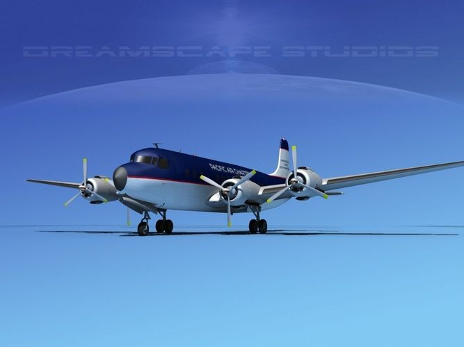 douglas dc-7b pacifica air charter 3d model rigged max obj 3ds lwo lw lws dxf dwg 1