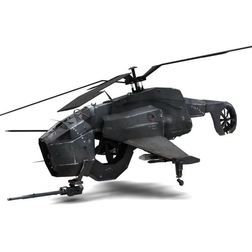 combine helicopter - hunter-chopper 3d model rigged animated max obj fbx mtl 1