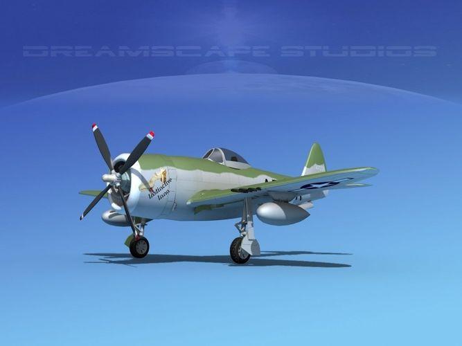 republic p-47d thunderbolt v09 3d model animated max obj mtl 3ds lwo lw lws dxf dae 1