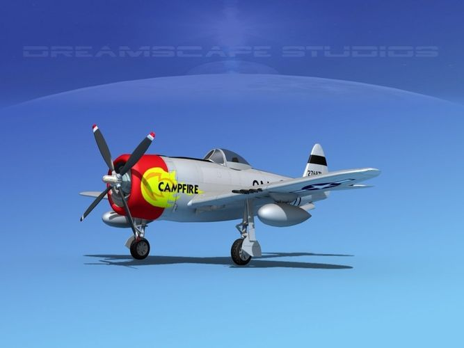 republic p-47d thunderbolt campfire 3d model animated max obj mtl 3ds lwo lw lws dxf dae 1