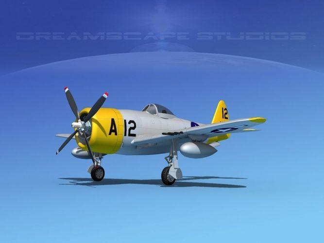 republic p-47d thunderbolt v17 3d model animated max obj mtl 3ds lwo lw lws dxf dae 1