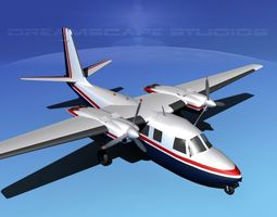 animated 3d model rockwell aero commander 560 v02