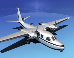 3d model rockwell aero commander 560 v04 animated