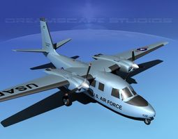 3d model animated aero commander u-9 air force
