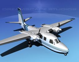animated rockwell aero commander 560 v12 3d