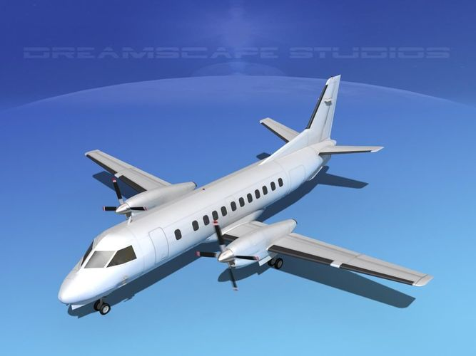 saab 340 bare metal 3d model animated max obj mtl 3ds lwo lw lws dxf dae 1