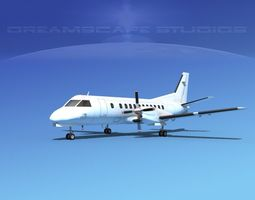 animated saab sf340 unmarked 1 3d model