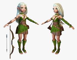 3d model cartoon elf ranger low-poly
