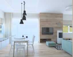 Beautiful living room whit kitchen 3D