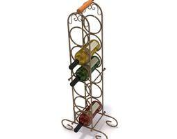 free standing metal wine bottle holder 3d