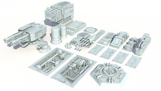 scifi details and greeble 3d model max obj fbx ma mb 1